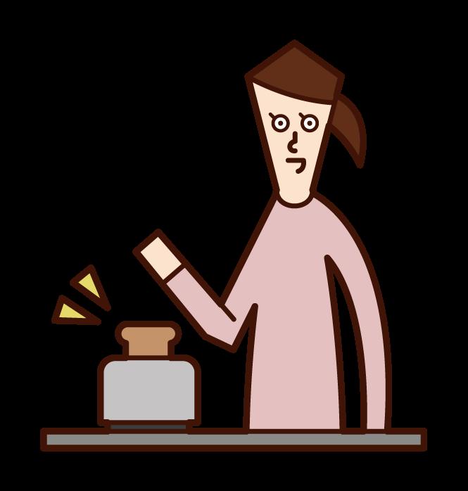 토스터로 빵을 굽는 사람(여성)의 일러스트