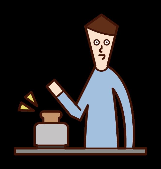 토스터로 빵을 굽는 사람(남성)의 일러스트