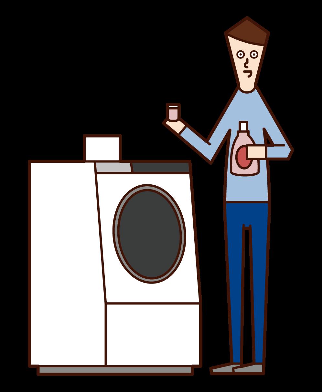 세탁기에 세제와 연화제를 넣은 사람(남성)의 일러스트