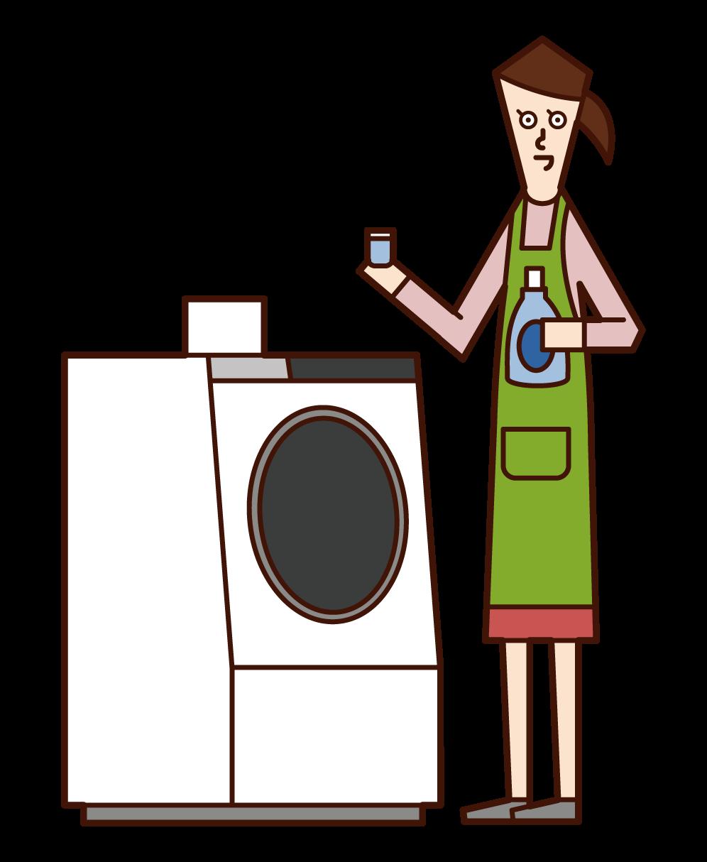세탁기에 세제와 유연제를 넣은 사람(여성)의 일러스트