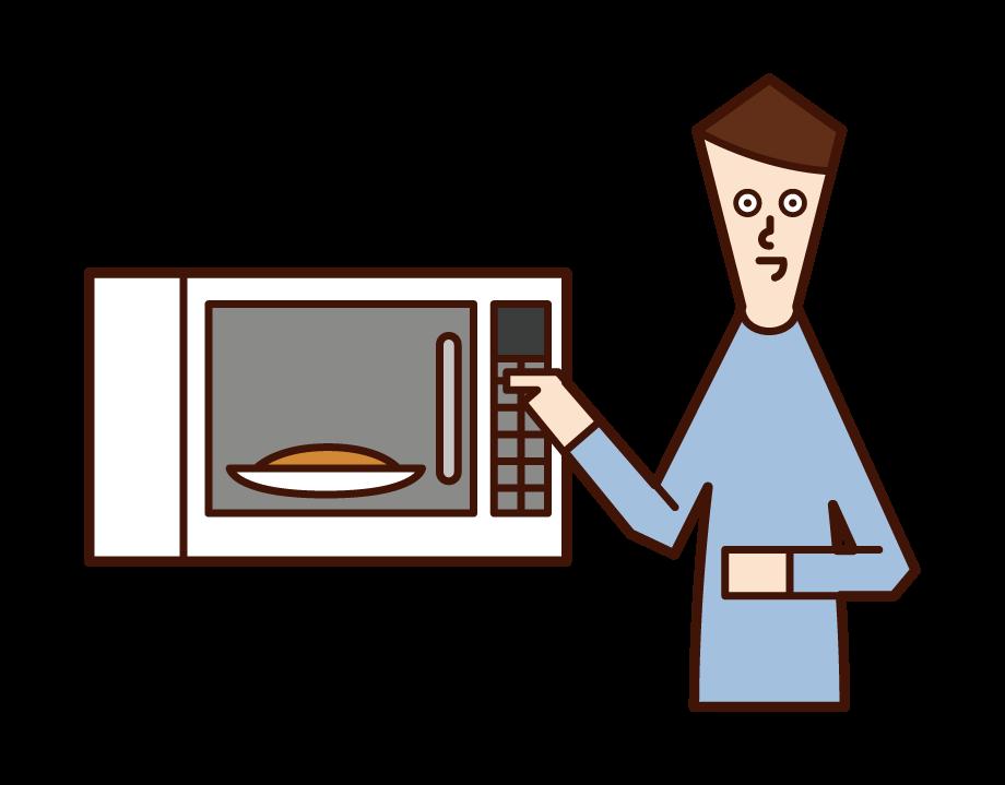 전자 레인지에 음식을 가열하는 사람 (남성)의 그림