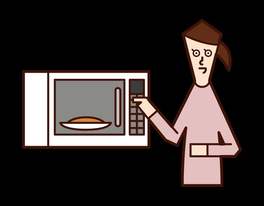 전자 레인지에 음식을 가열하는 사람 (여성)의 그림