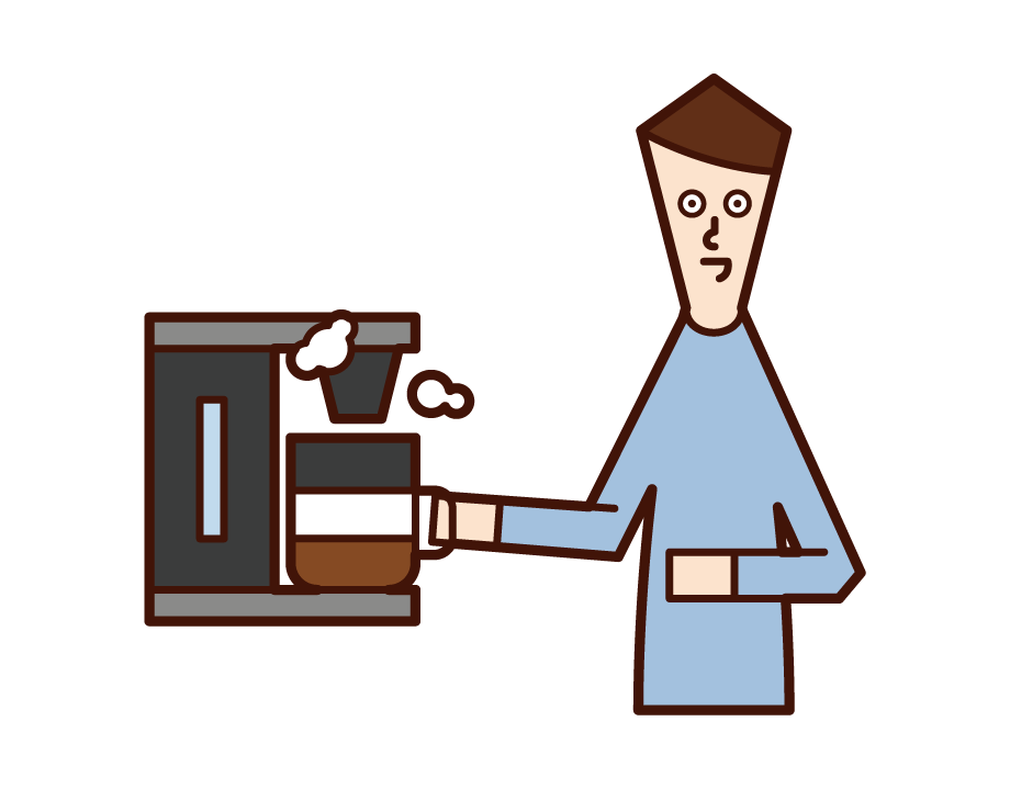 커피 머신을 사용하는 사람 (남성)의 그림