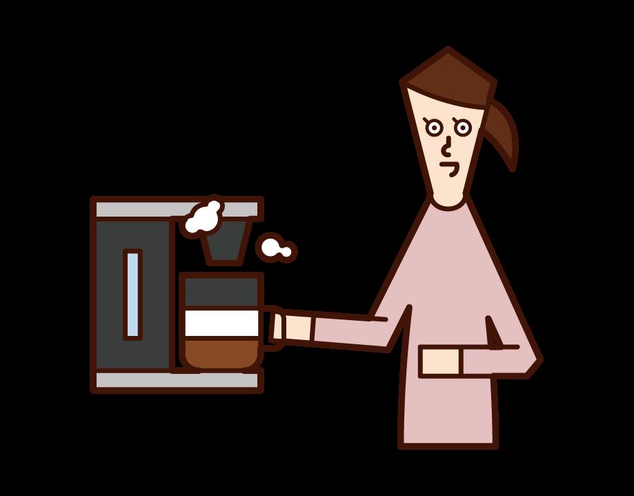 使用咖啡機的人(女性)的插圖
