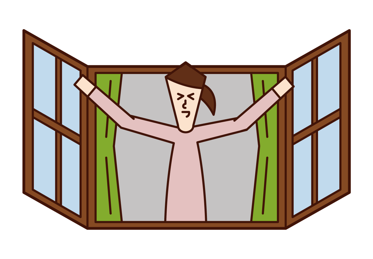 打開窗戶沐浴在早晨陽光下的人(女性)的插圖