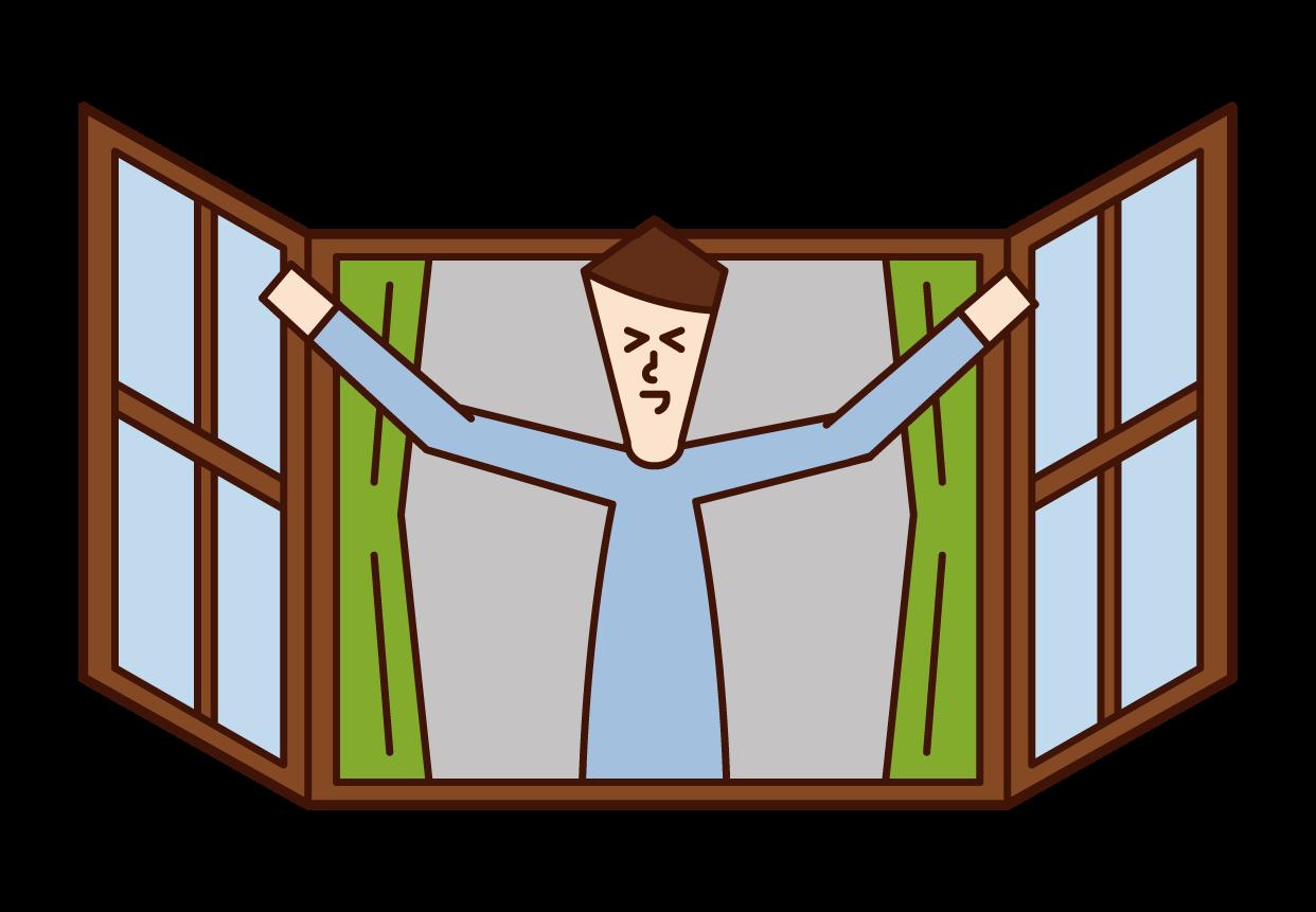 打開窗戶沐浴在早晨陽光下的人(男性)的插圖