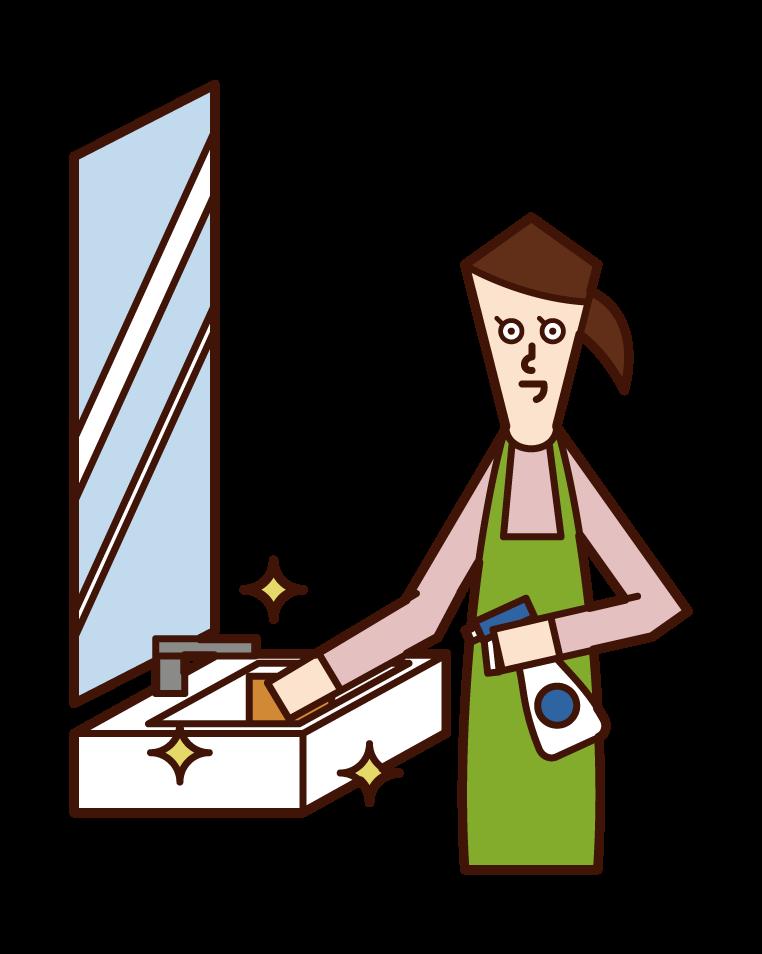 세면대를 청소하는 사람 (여성)의 그림