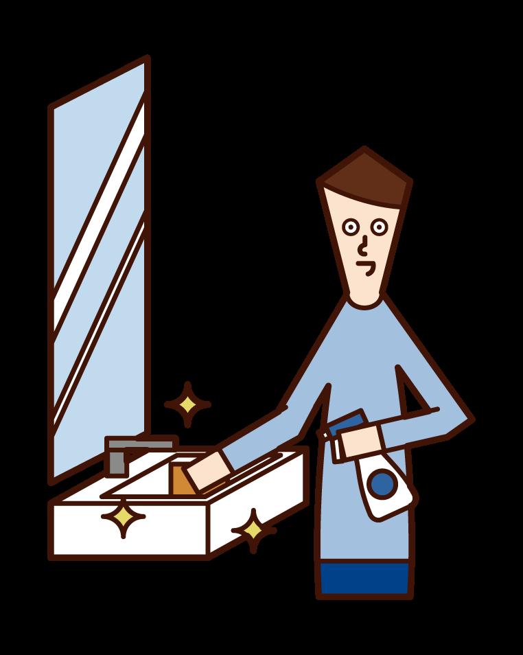 세면대를 청소하는 사람 (남성)의 그림