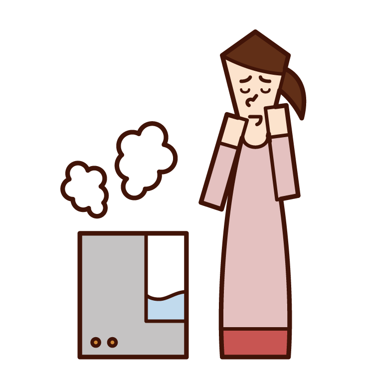 Illustration of a woman using a humidifier