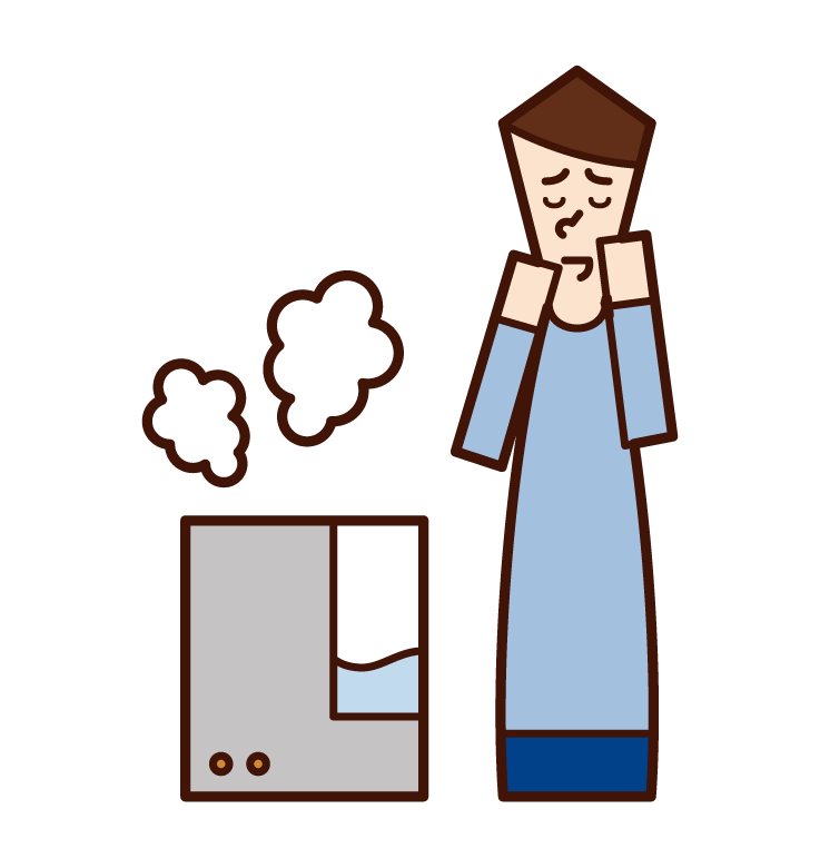 Illustration of a man using a humidifier
