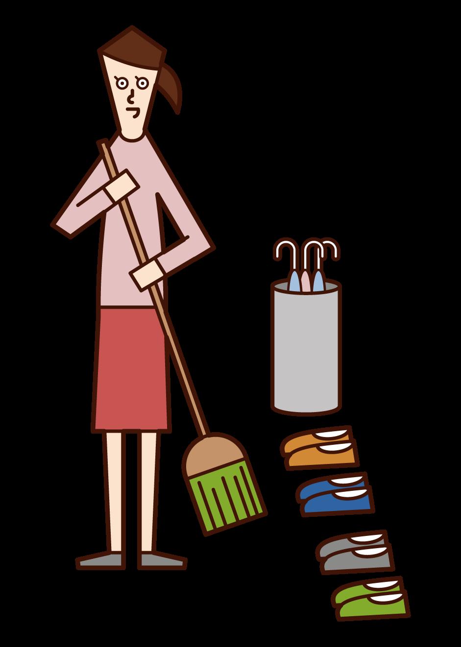 정문을 청소하는 사람 (여성)의 그림