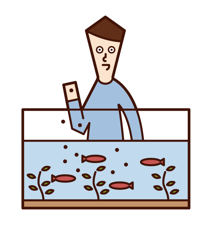 水槽の魚に餌を与える人(男性)のイラスト