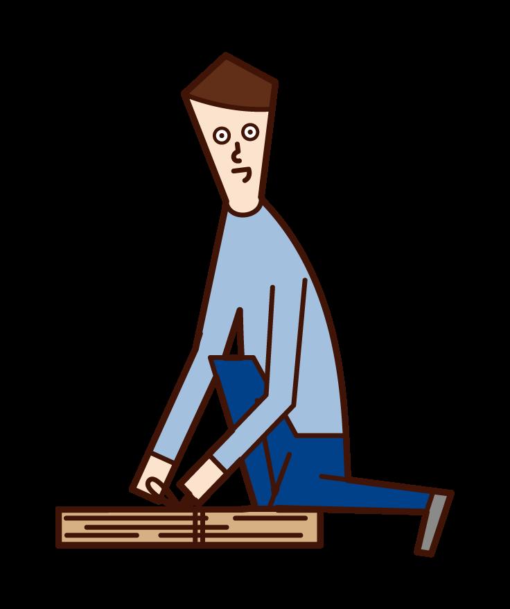 쓰레기통에 판지를 던지는 사람 (남성)의 그림
