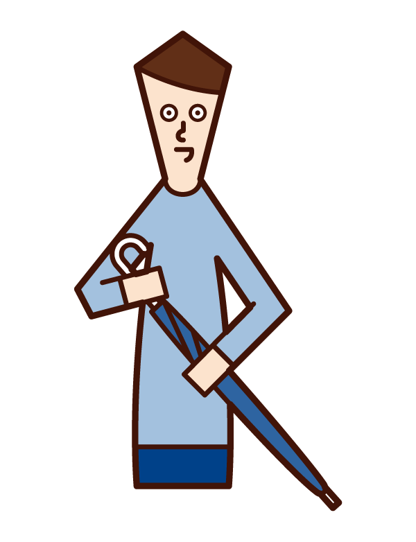 摺疊傘的人(男性)的插圖