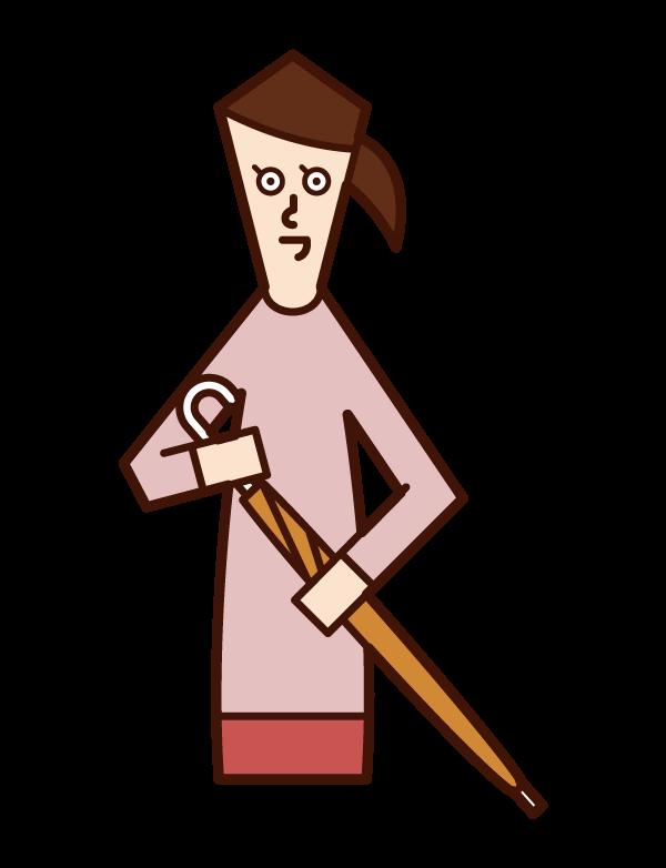 摺疊傘的人(女性)的插圖