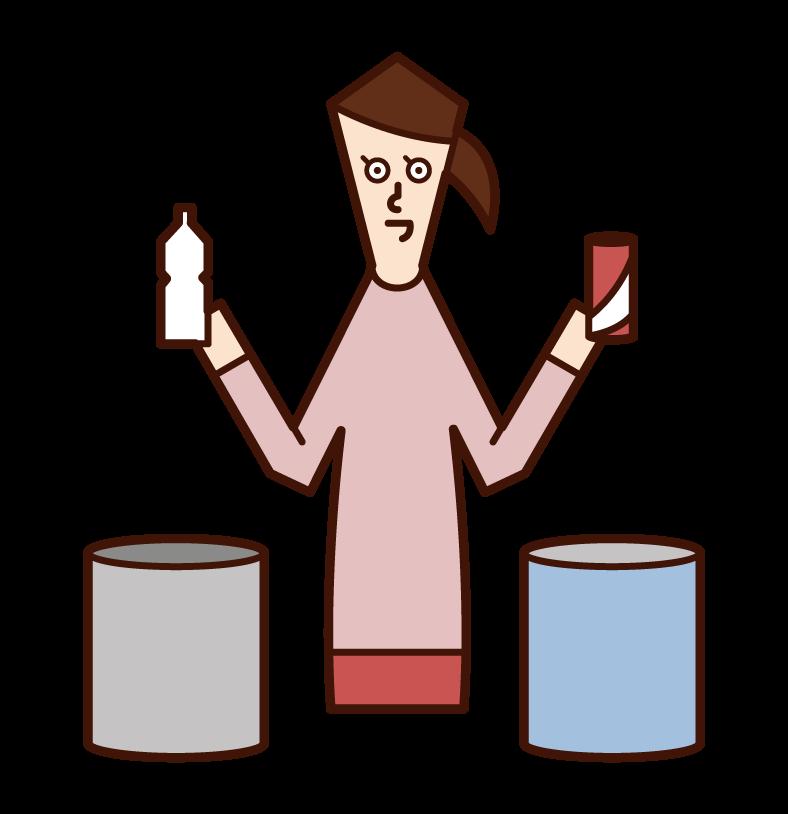 쓰레기 분류자 (여성)의 그림