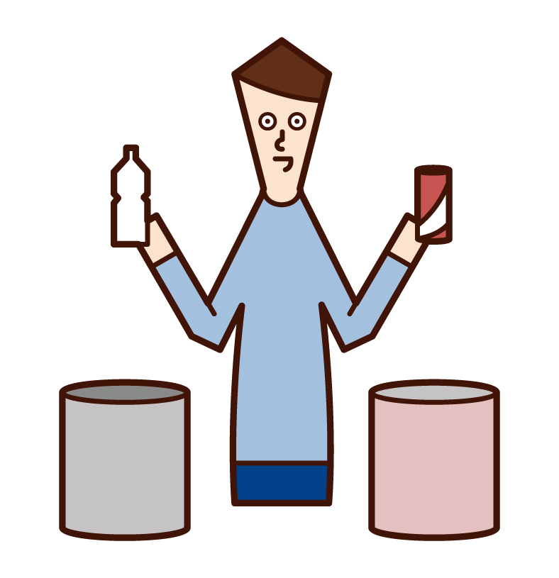 쓰레기 분류자(남성)의 일러스트레이션