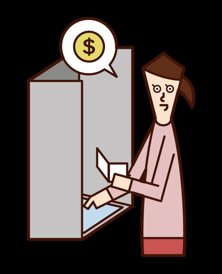 ATM에서 돈을 인출하는 사람 (여성)의 그림