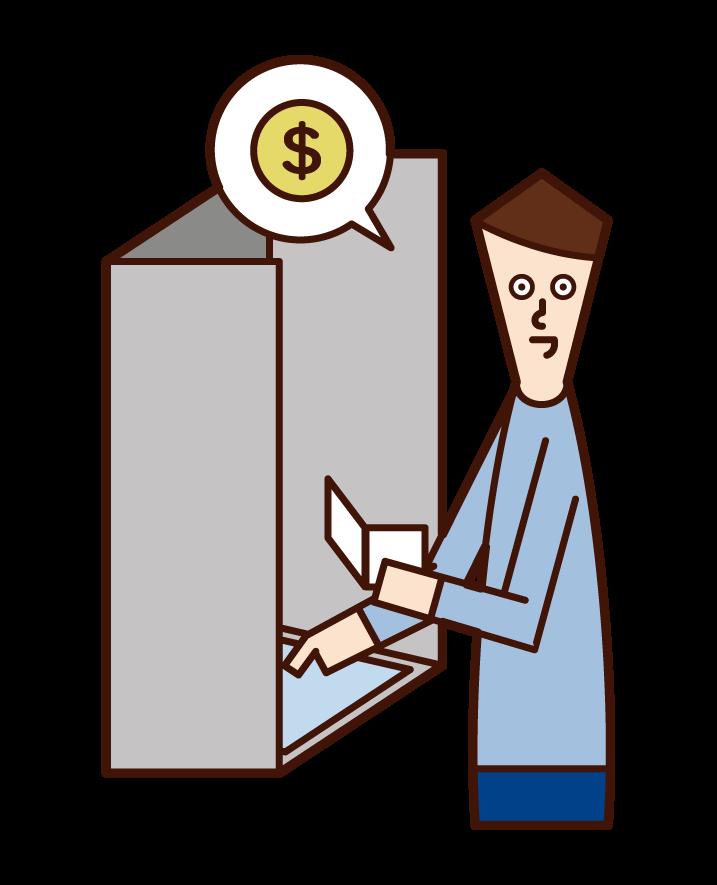 ATM에서 돈을 인출하는 사람 (남성)의 그림