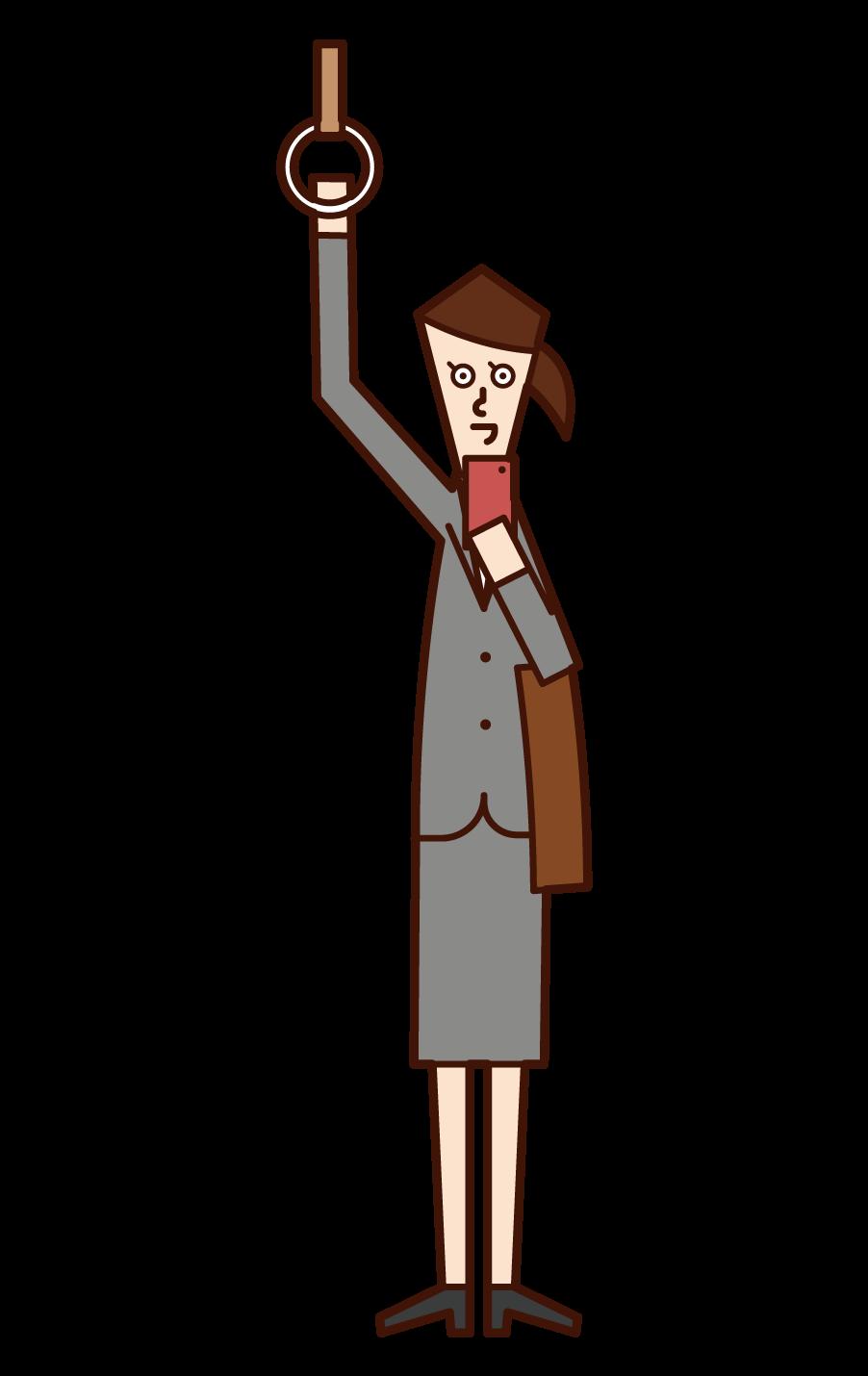 在火車上使用智能手機的人(女性)的插圖