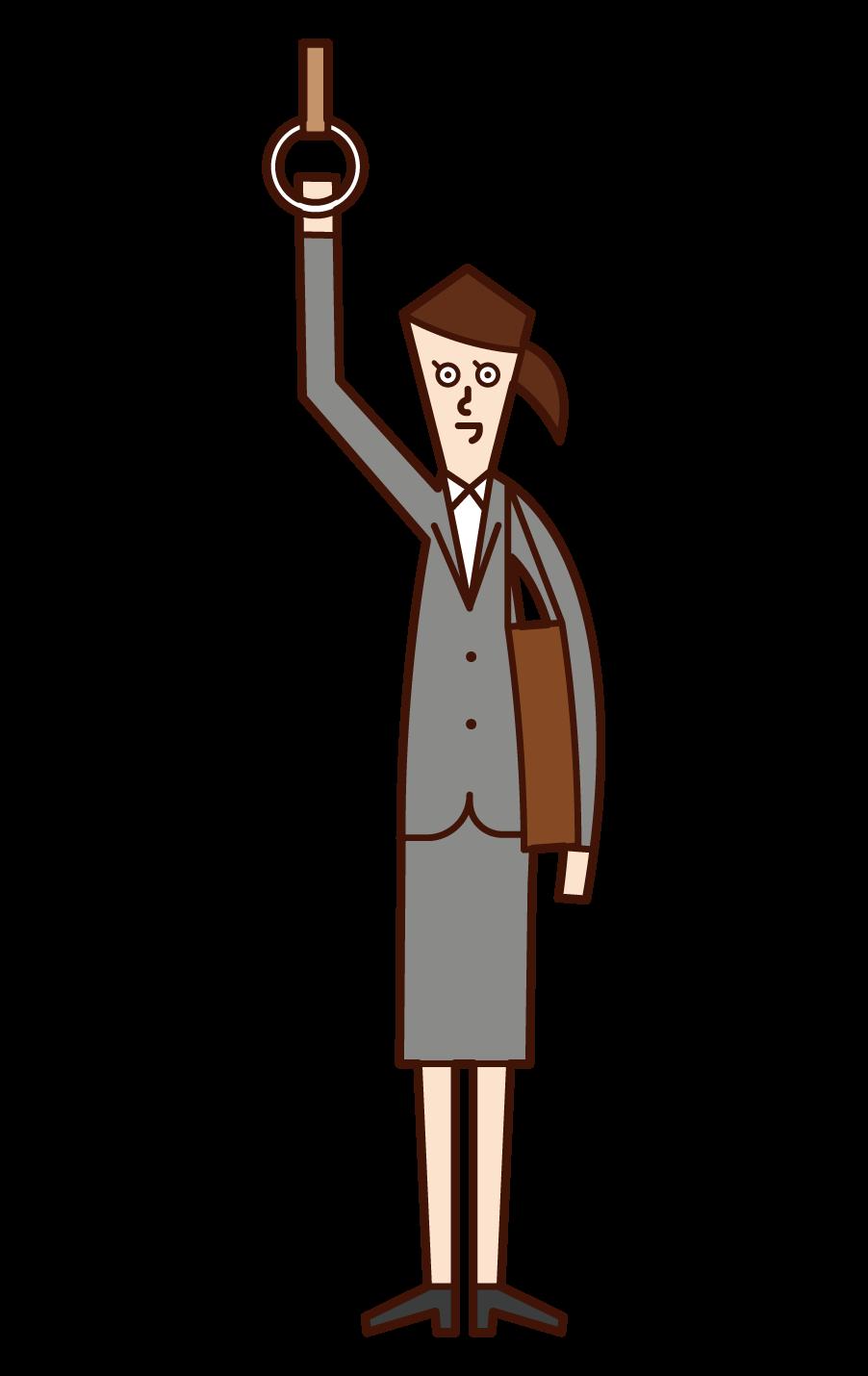 乘火車上班的人(女性)的插圖