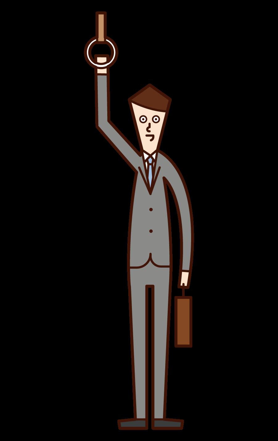 乘火車上班的人(男性)的插圖