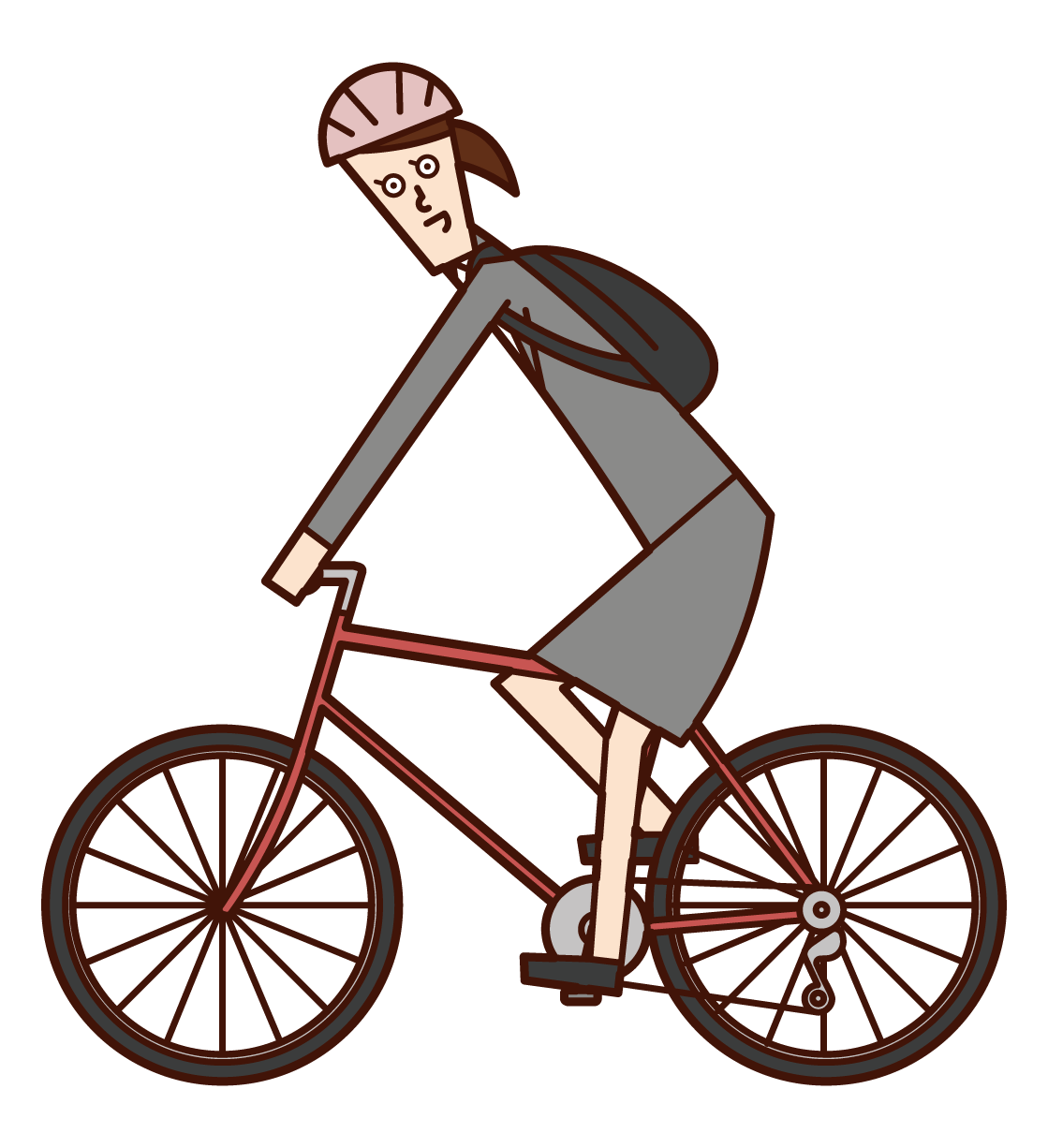 Illustration of a woman commuting by bicycle
