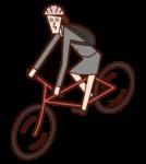 자전거로 출근하는 사람(여성)의 일러스트