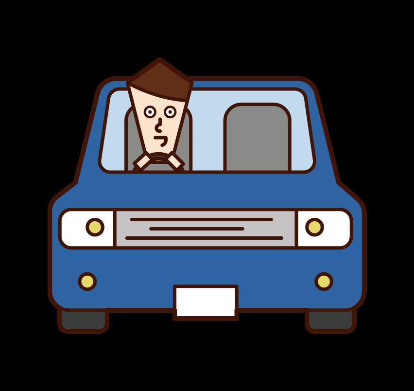 자동차를 운전하는 사람 (남성)의 그림