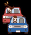 煽り運転をする人(女性)のイラスト