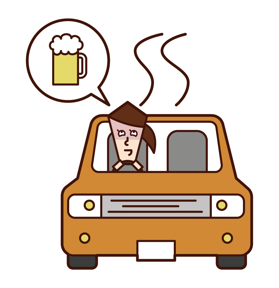 Illustration of a drunk driver (woman)