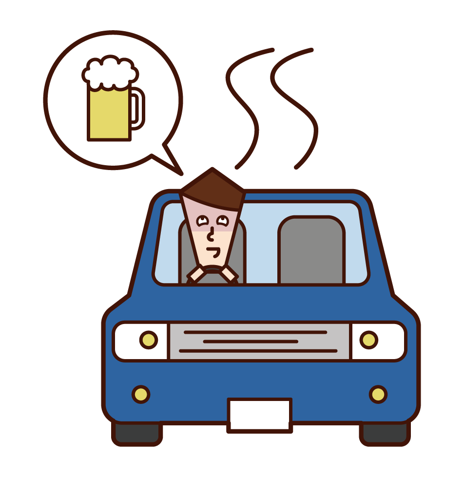 Illustration of a drunk driver (male)