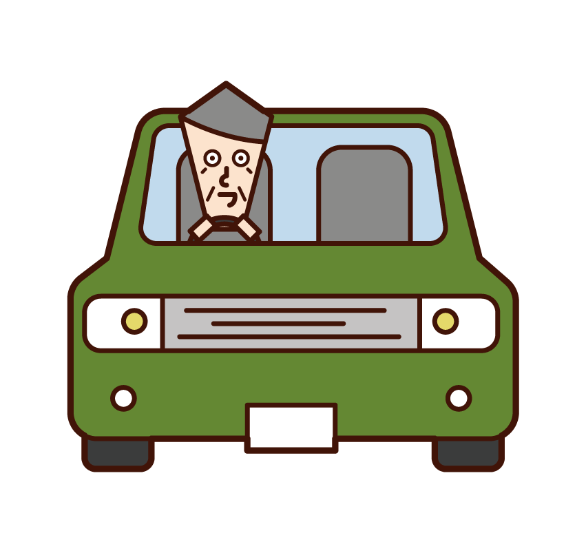 Illustration of a person (old man) driving a car