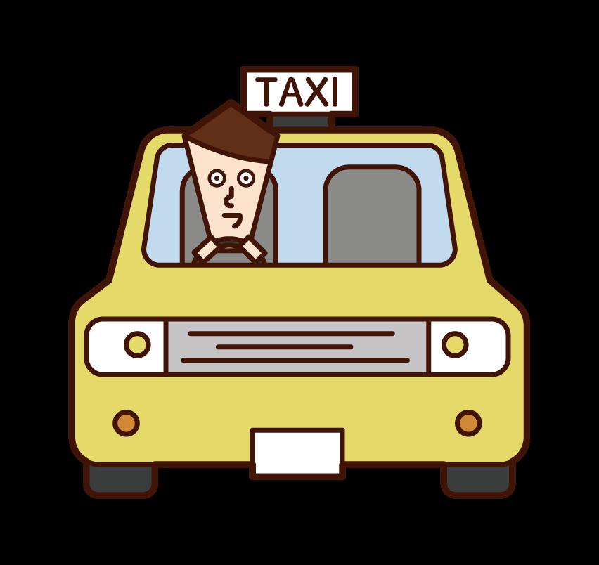 택시를 운전하는 사람 (남성)의 그림