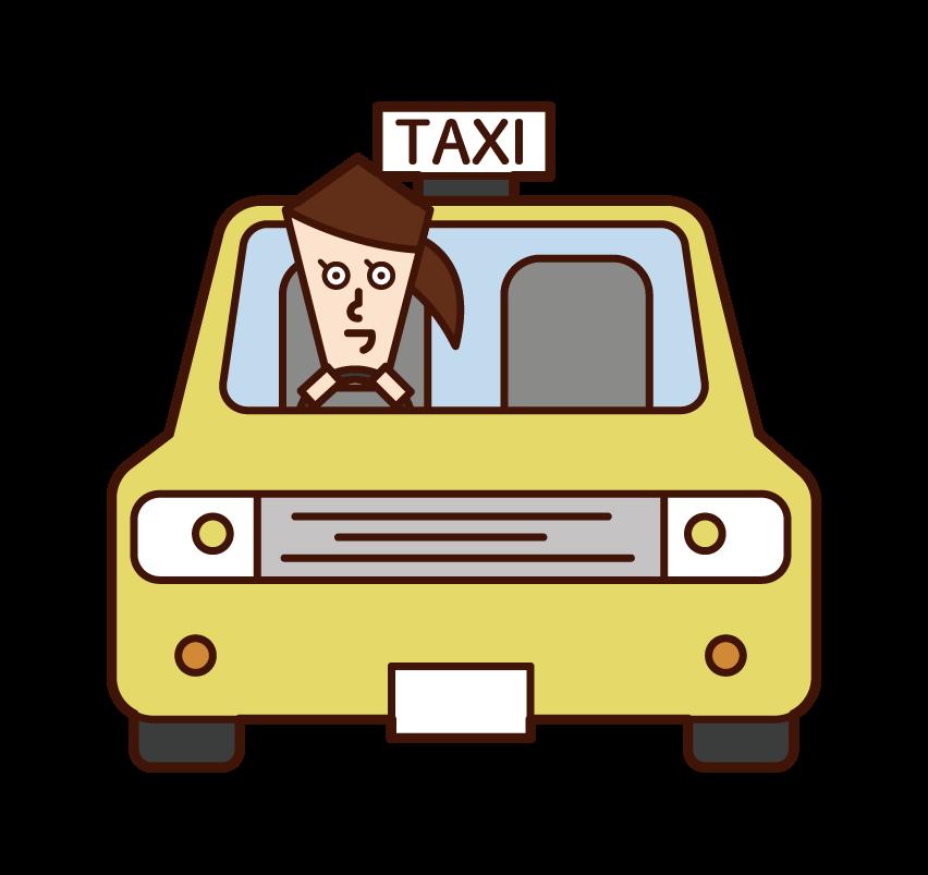 택시를 운전하는 사람 (여성)의 그림