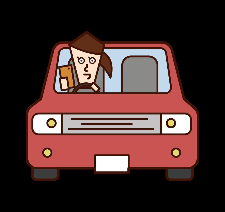 스마트폰을 조작할 때 자동차를 운전하는 사람(소녀)의 일러스트