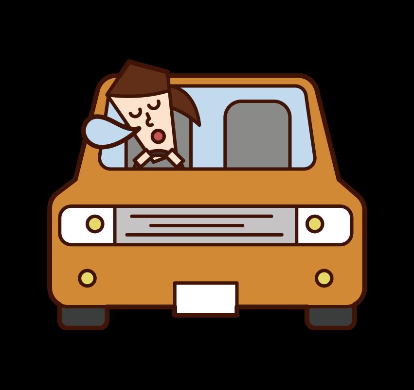 자동차에서 낮잠을 자고 운전하는 사람 (여성)의 그림