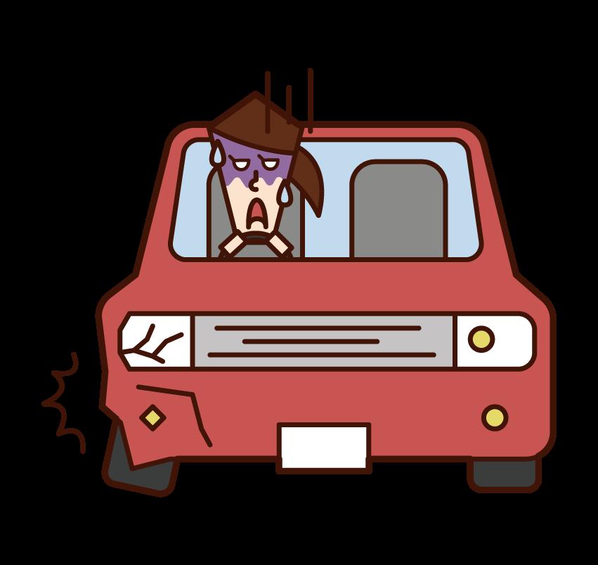 교통사고를 당한 사람(여성)의 일러스트