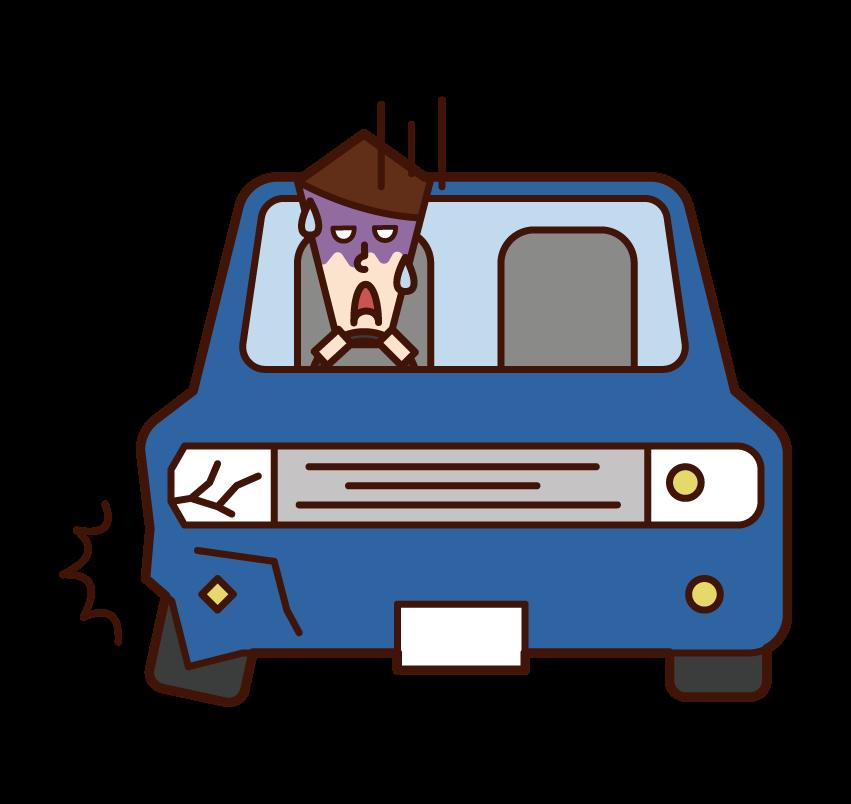 교통사고를 당한 사람(남성)의 일러스트