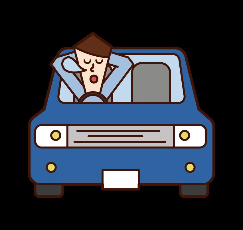 차에서 자고있는 사람 (남성)의 그림