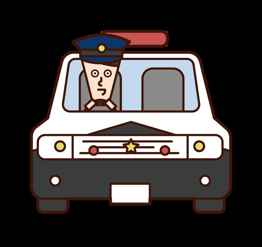 경찰차를 운전하는 경찰 (남성) 일러스트
