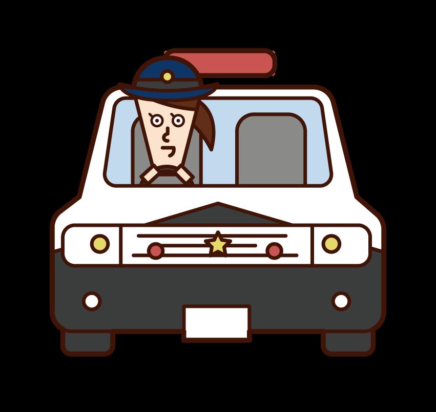 경찰차를 운전하는 경찰 (여성) 일러스트