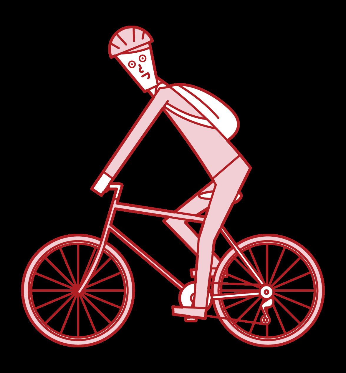 自転車で通勤する人(男性)のイラスト