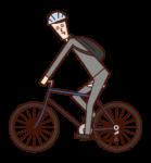 자전거로 출근하는 사람(남성)의 일러스트