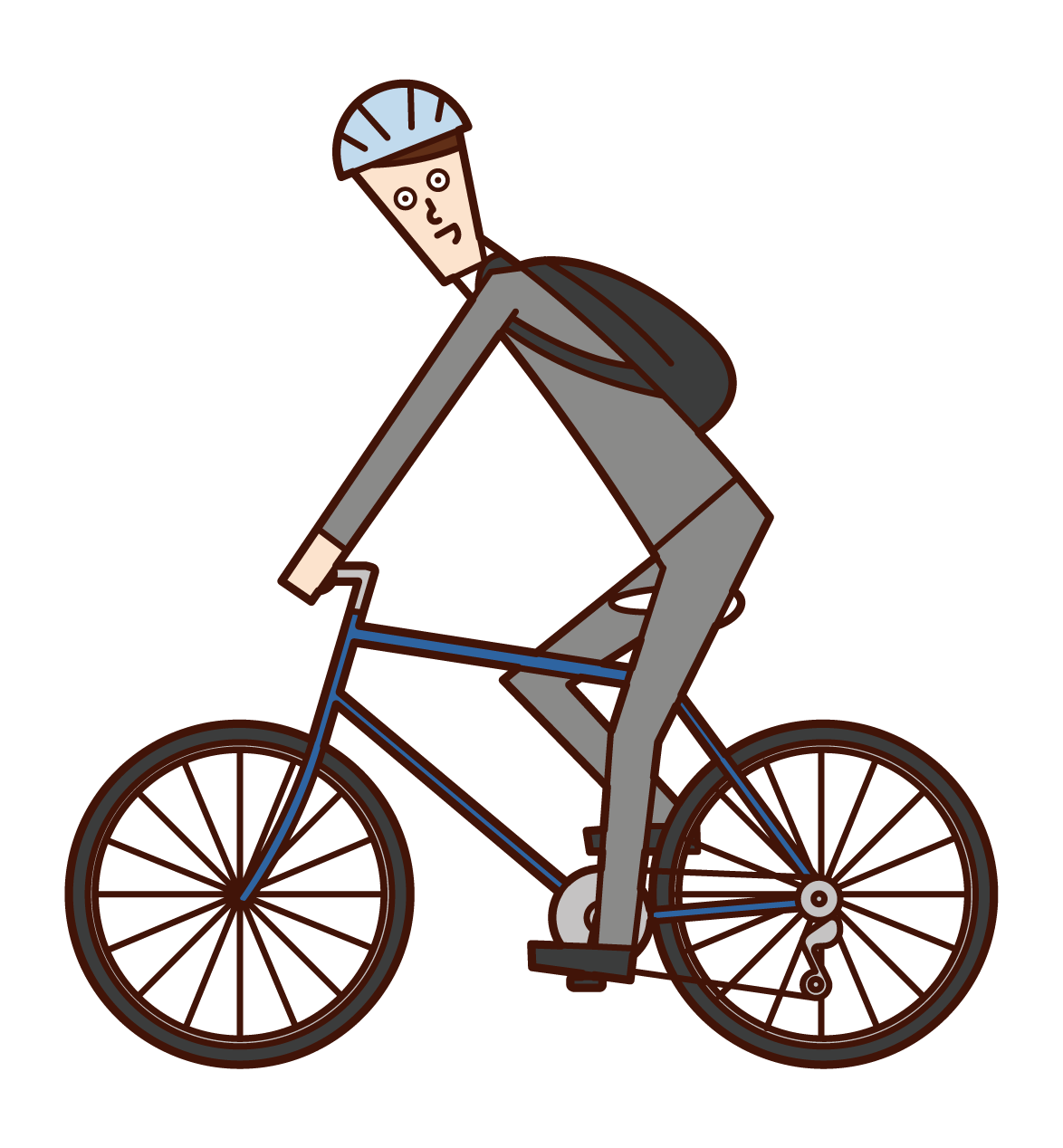 Illustration of a man commuting by bicycle