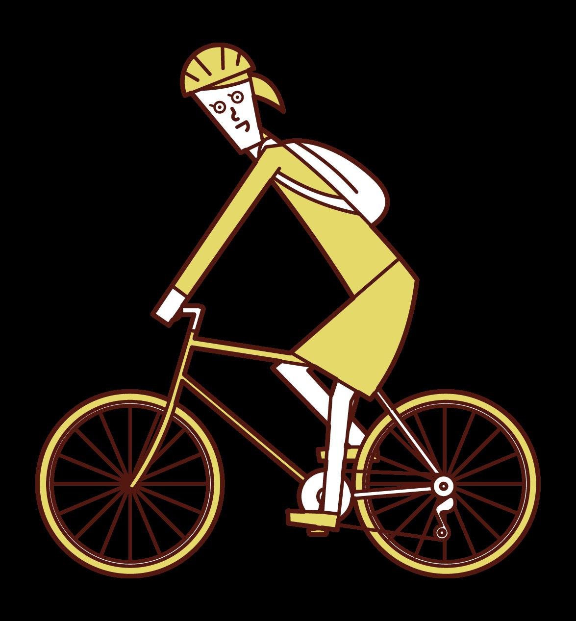 自転車で通勤する人(女性)のイラスト