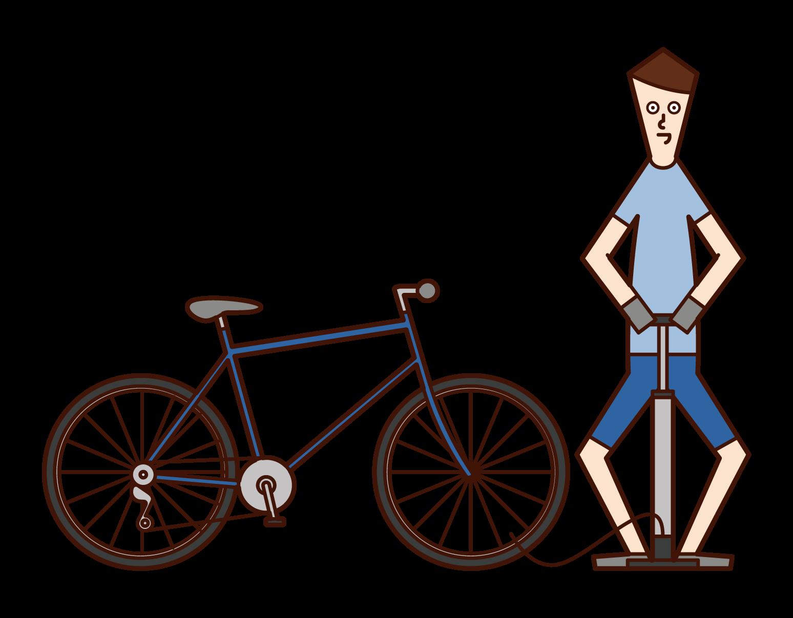 자전거 타이어에 공기를 넣은 사람(남성)의 일러스트