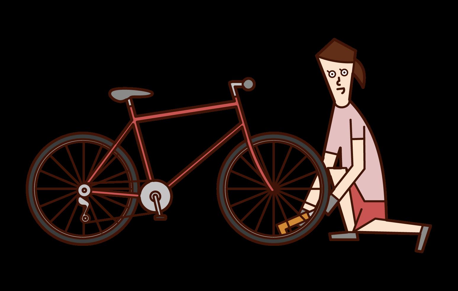 자전거 타이어에 공기를 넣은 사람(여성)의 일러스트