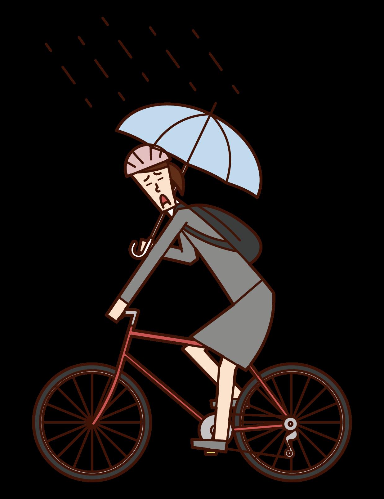 傘をさしながら自転車を運転する人(女性)のイラスト