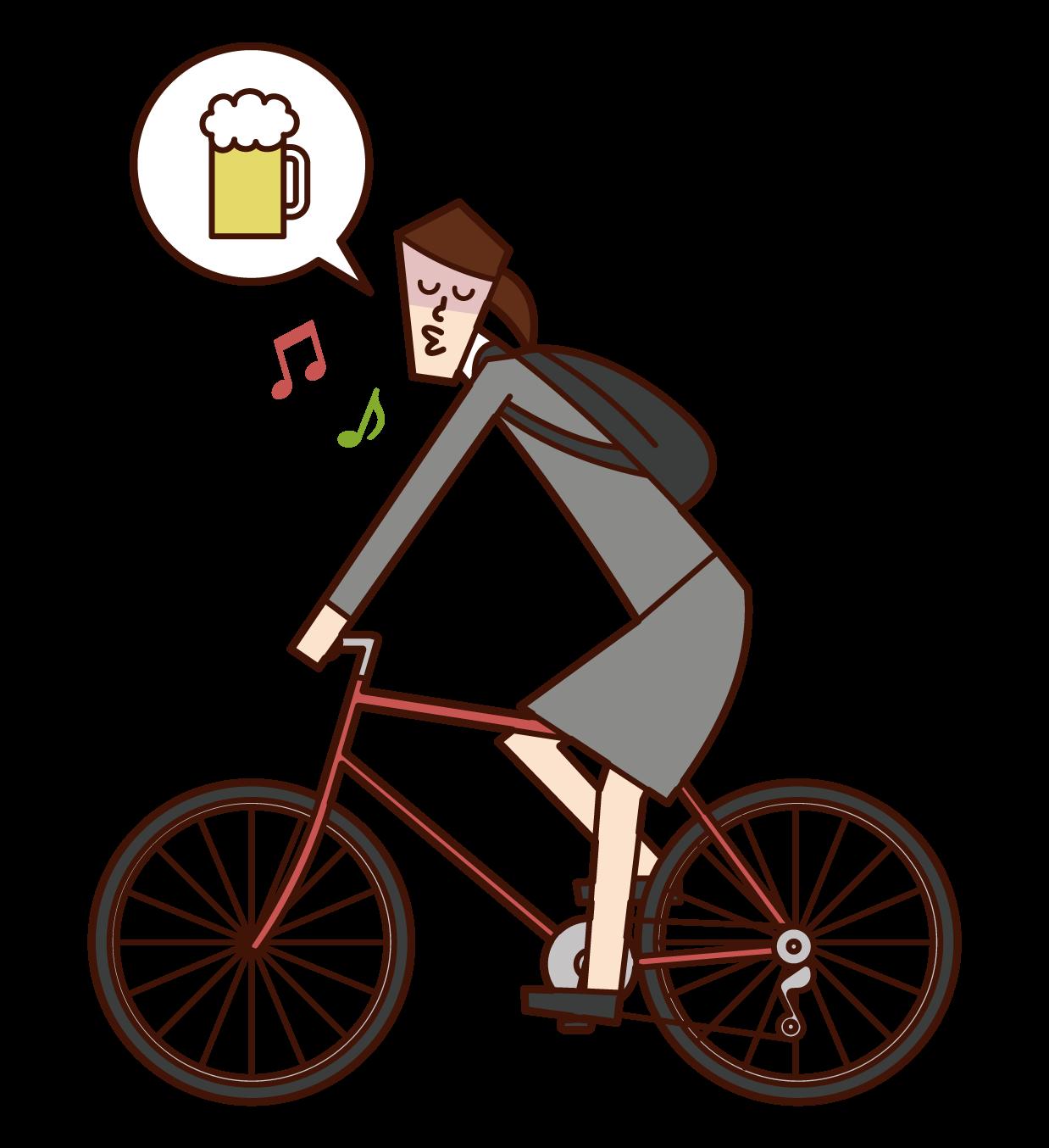 자전거로 음주 운전을 하는 사람(여성)의 일러스트